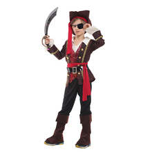 Child Kids Deluxe One Eye Captain Pirate Skullduggery Costume for Boys New Year Party Purim Halloween Fancy Dress Up