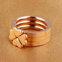 Recommend Hot Salse Happy Clover Girls Ring Rose Gold Ring Wholesale Ladies Ring Rings For Women