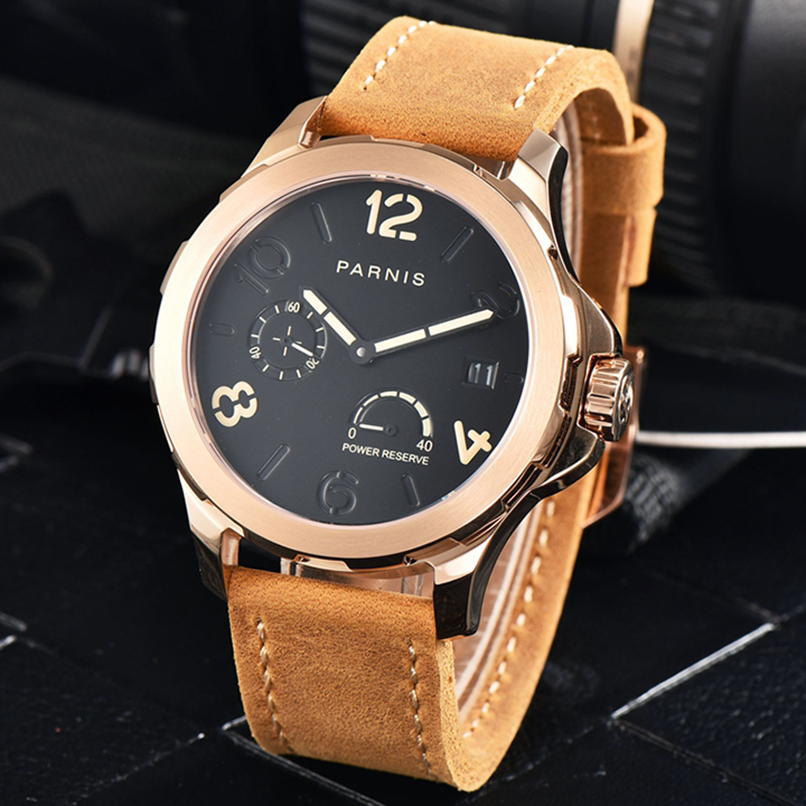 2017 New Arrival Parnis 44mm Mens Automatic Watch Luminous Markers Power Reserve Rose Gold Watch Men Sapphire 5Bar Waterproof 2017 new arrivals mechanical watch parnis 44mm 5bar luminous brown leather rose gold mens automatic watch reloj hombre