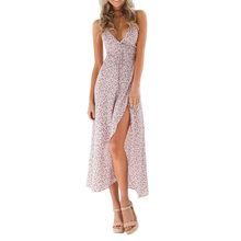 Floral Print Chiffon Long Dress 2018 Sexy V Neck Backless Boho Beach Long Dress Vestidos Women Split Summer Sundress Maxi Dress