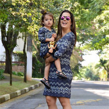 Mommy and Me Mother Daughter Dresses Family Matching Clothes Striped Mom Dress Mama Baby Parent Child Outfits C0391