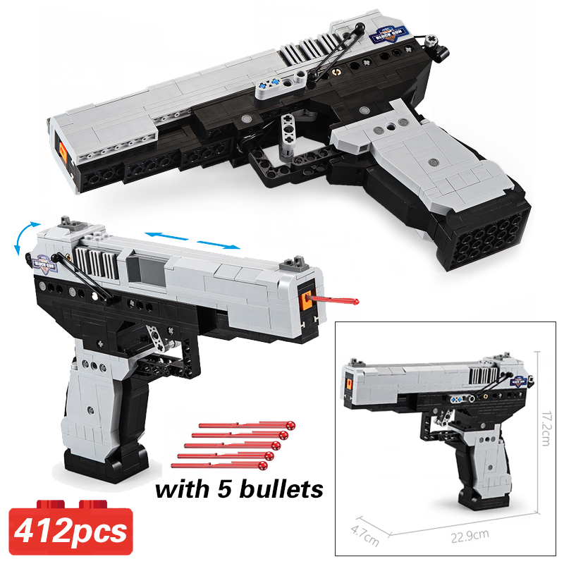 CADA Blocks M23 Pistol Gun 412pcs Call Army Military Duty Building Brick Weapon SWAT pubg Technic Toys For Boys Gifts image