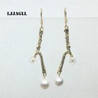 LJJAGLL Haute Qualité naturel d'eau douce perle or Galvanoplastie arbre branche d'arbre fleur boucle d'oreille de mode femmes bijoux