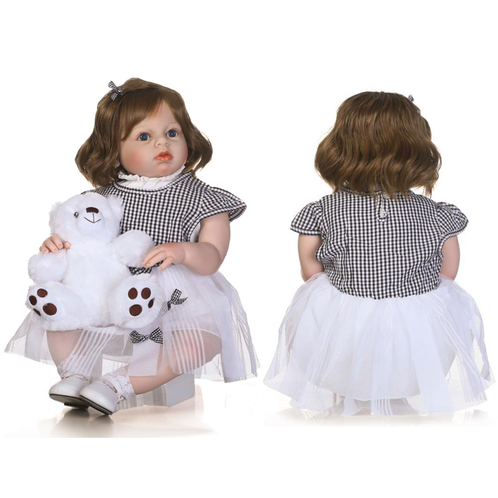 Dongzhur 70cm Brown Hair Doll Princess Wedding Dress Simulation ...