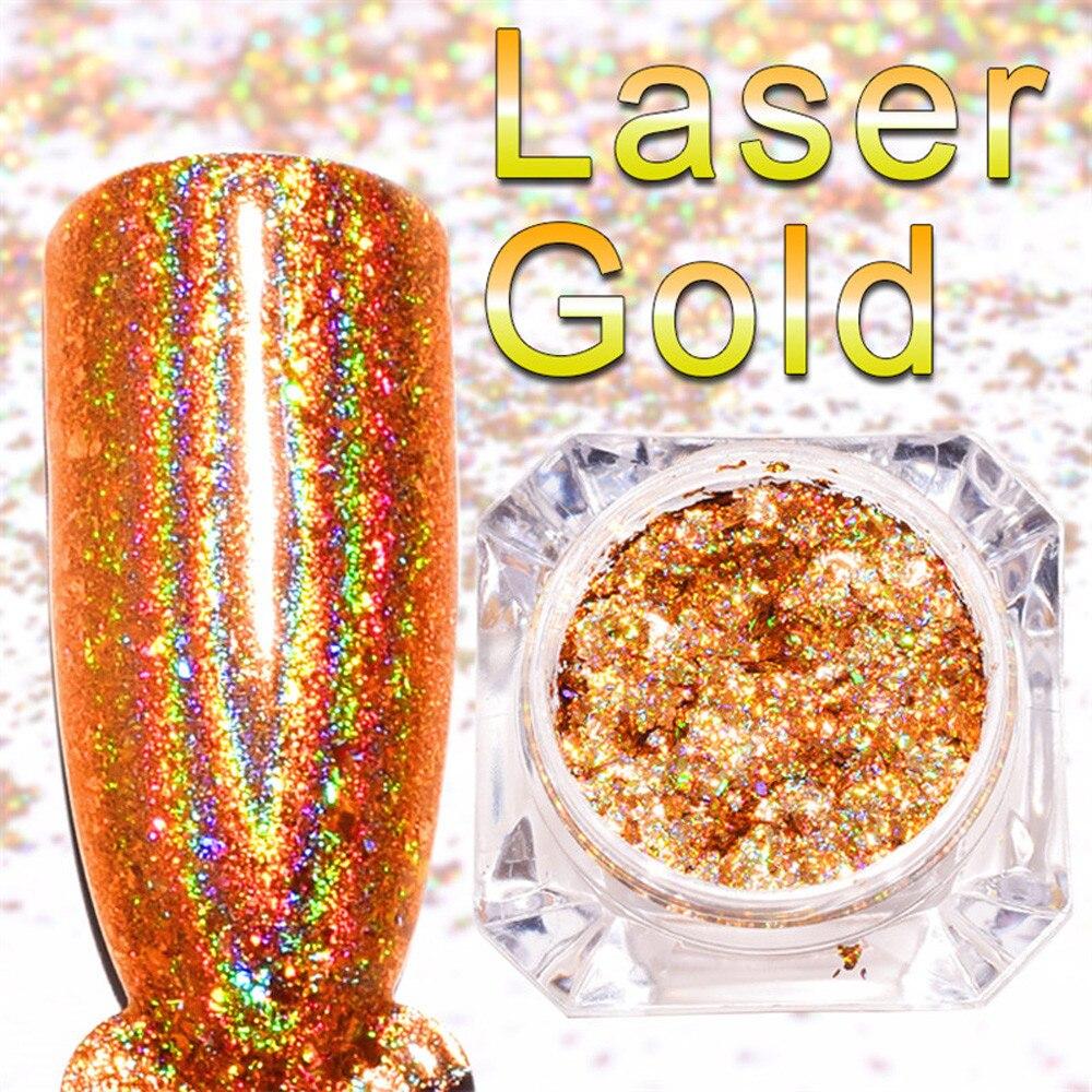 1 шт. 0.1 г зеркало Лаки для ногтей лазерное напыление золота вставить металла Цвет гель Нержавеющаясталь DIY Дизайн ногтей Косметическая пуд...