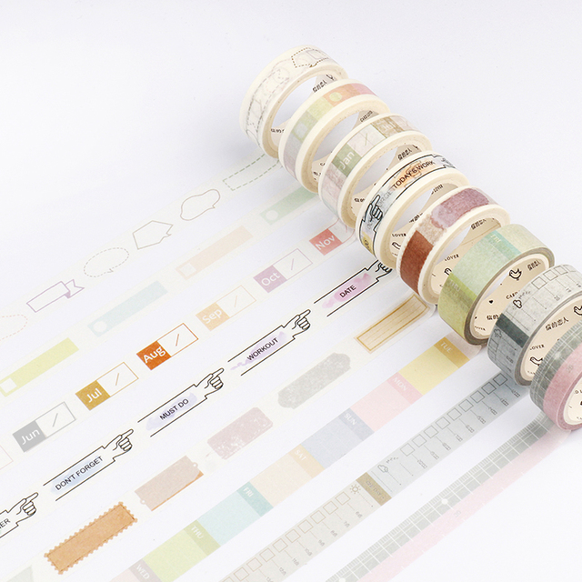 5 8 15mm basic fuction masking tape time planner daily plan colorful