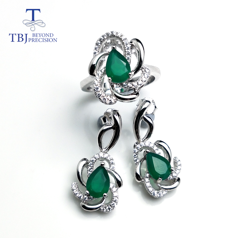 TBJ,natural green agate jewelry set ring and earring in 925 sterling silver excellent flower design for women daily wear as gift ethnic wind bracelets men and women decorations green agate 925 silver ball duobao string original jewelry