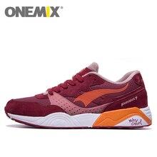 Onemix zapatos corrientes de cuero para hombres mujeres 2016 de la zapatilla de deporte respirable de la señora entrenadores walking deporte al aire libre zapatos deportivos marca