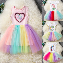 2019 NEW Summer Unicorn Dress for Girls Kids Party Cotton Rainbow Tutu Toddler Girl Princess Vestidos