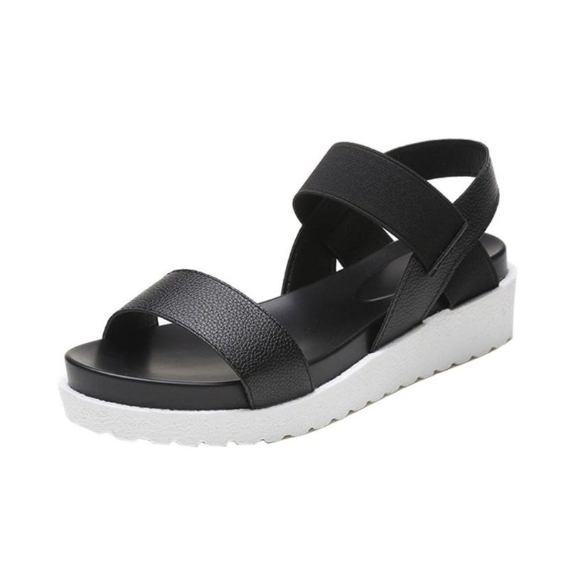 Slippers Shoes Woman Fashion Sandals Women Aged Leather Flat Sandals Ladies Shoes A0515#30