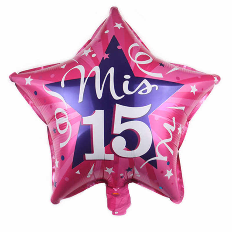 HDBFH  New 18-inch round five-pointed star My 15-year-old aluminum balloon 15 years old birthday decoration balloon wholesale