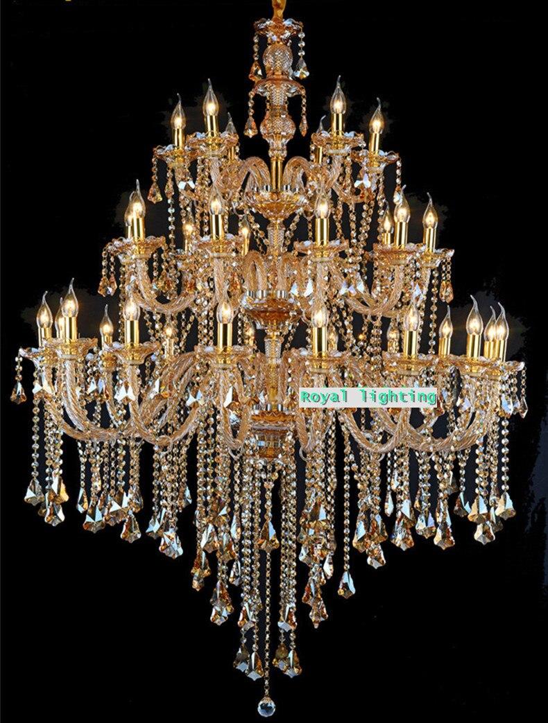 Grand champagne cristal lustre plafonniers pour Villa église lustre led lampe suspendue E14 hôtel lustre éclairage