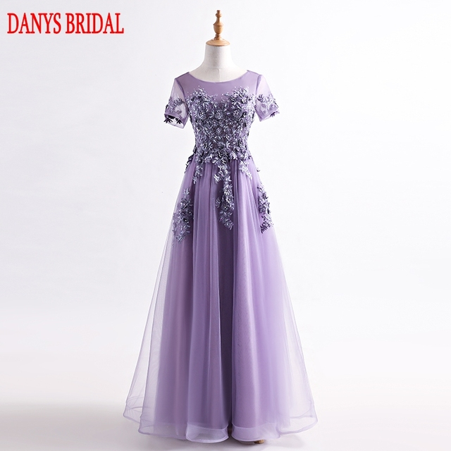 Lavender Long Lace Evening Dresses Party Women Sequin Beaded A Line ...