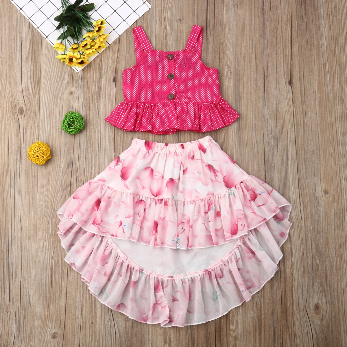 Emmababy Summer Toddler Baby Girl Clothes Solid Color Strap Ruffle Tops Flower Print Skirt 2Pcs Outfits Clothes