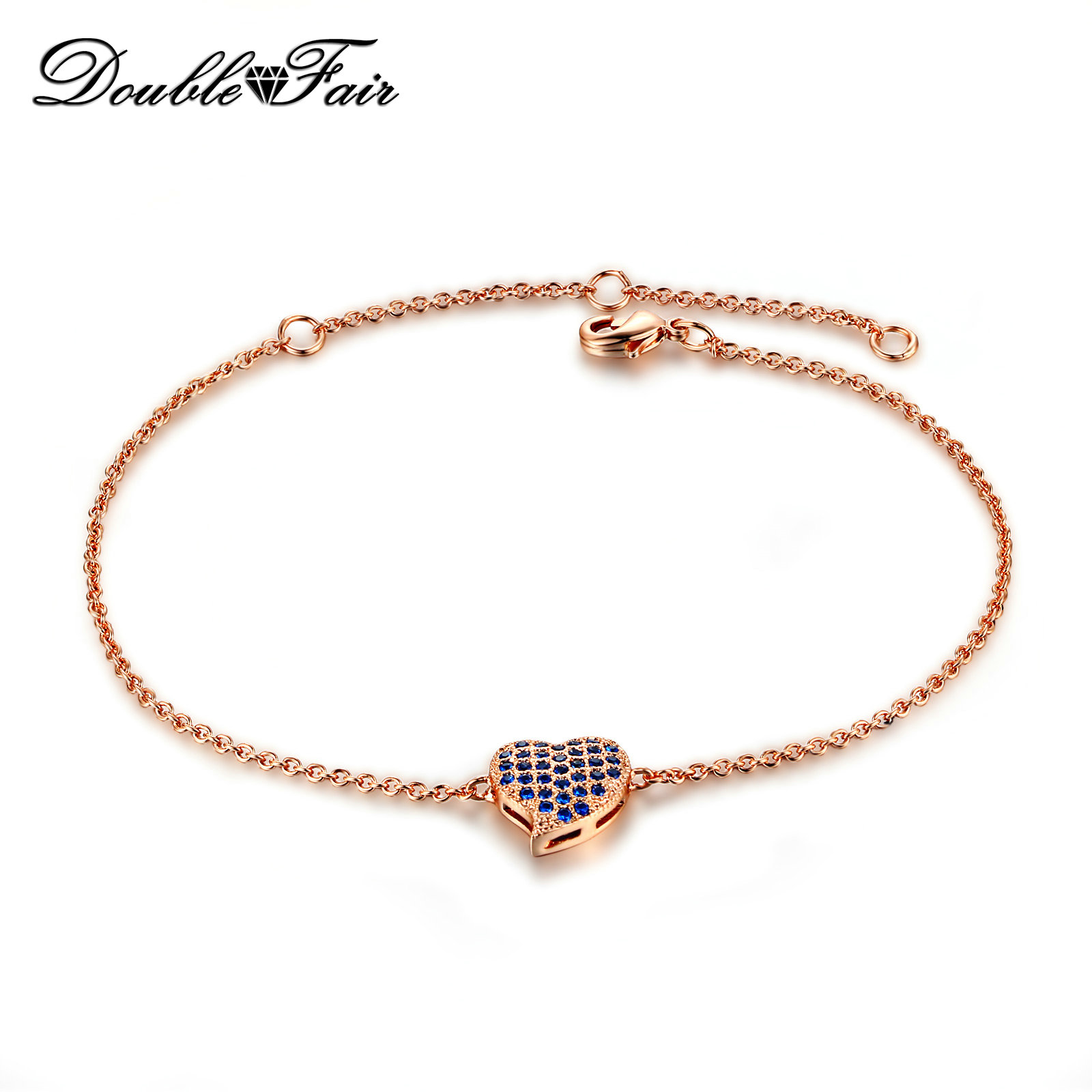 DFH188 Blue Red White Lovly Heart Rose Gold Plated font b Bracelets b font font b