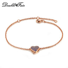 DFH188 Blue/Red/White Lovly Heart Rose Gold Plated Bracelets & Bangles Fashion Cubic Zirconia Jewelry Gift For Women Wholesale
