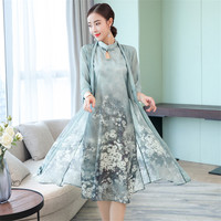 2 Piece Autumn Chinese Silk Dresses Women 3/4 Sleeve Floral Print Retro Vintage Casual Dresses Plus Size Women Clothing Vestidos