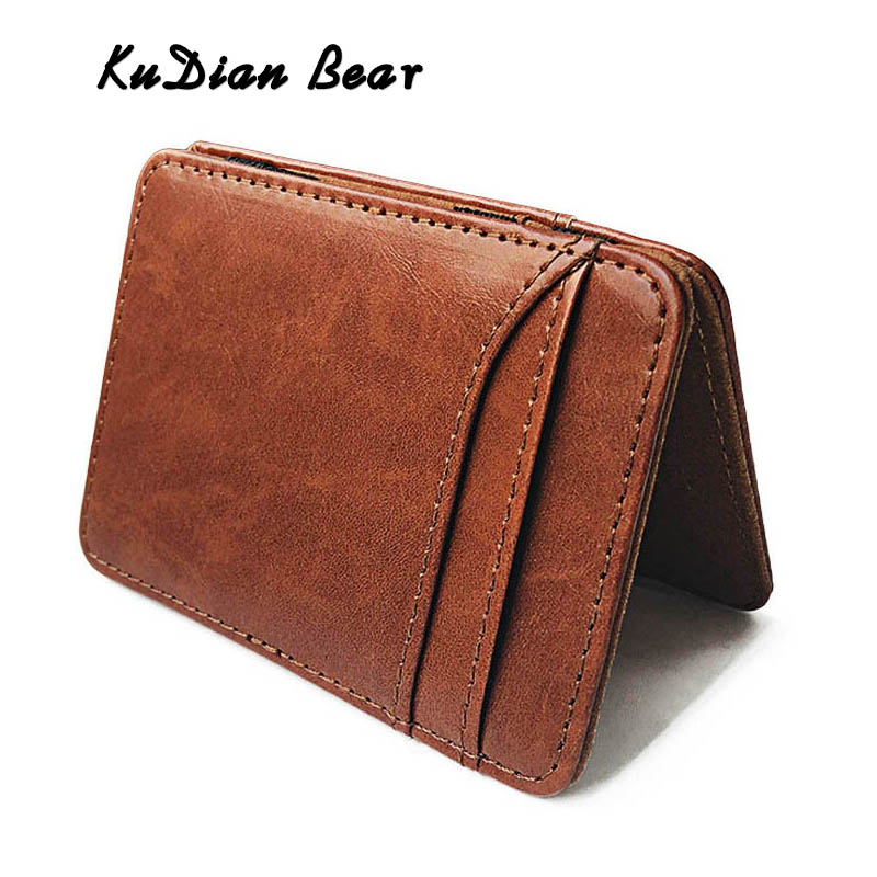 KUDIAN BEAR Slim Leather Men Wallet Magic Designer Card Holder For Credit Card&ID Fashion Rifid Wallet Money Purse BID259 PM49