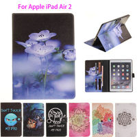 Fashion High Quality Cat Panda Painted Flip PU Leather SFor IPad Air 2 Case For Apple