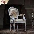 Французский сельский стиль мебели/твердая древесина натуральная кожа/Итальянский глава слой коровьей/овальные трость обратно обеденный стул