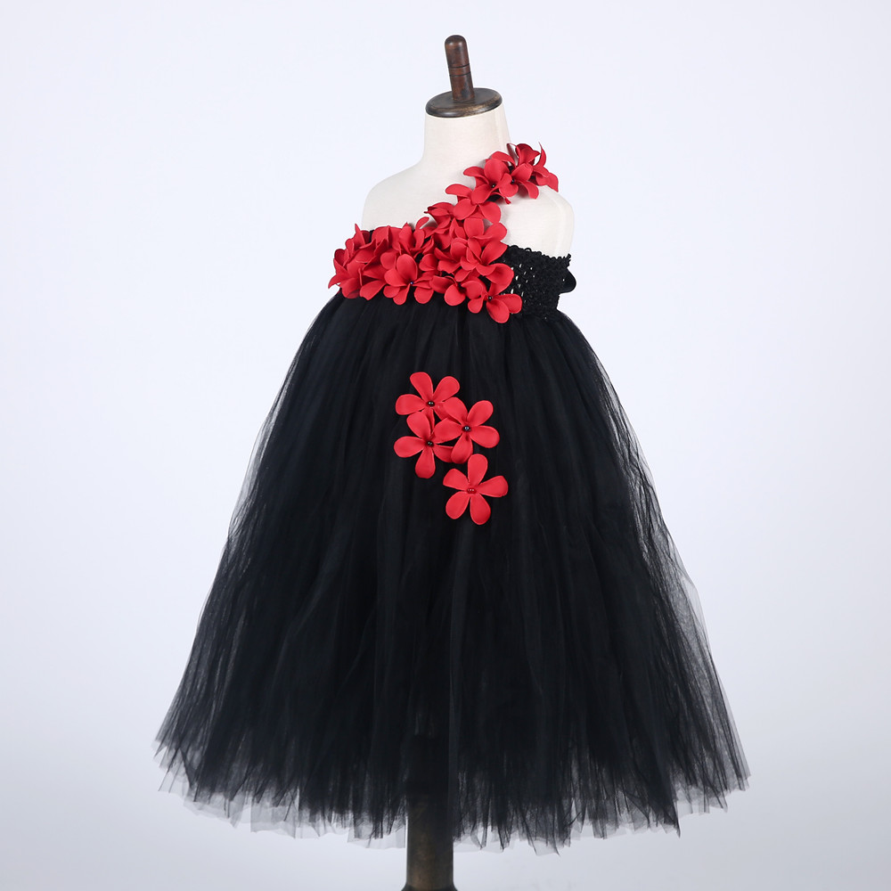 Ankle Length Girls Black Dress Red Flower One Shoulder Summer Girl Lace Dress Long Tulle Teen Girl Party Dress Baby Girl Clothes (3)