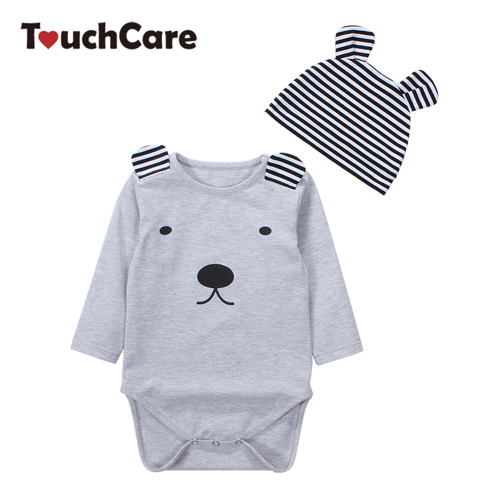 Clearance Cotton Cartoon Dog Printed Romper Stripe Baby Hat Long Sleeve Infant Romper+Hat 2Pcs Clothing Set Pajamas Jumpsuits