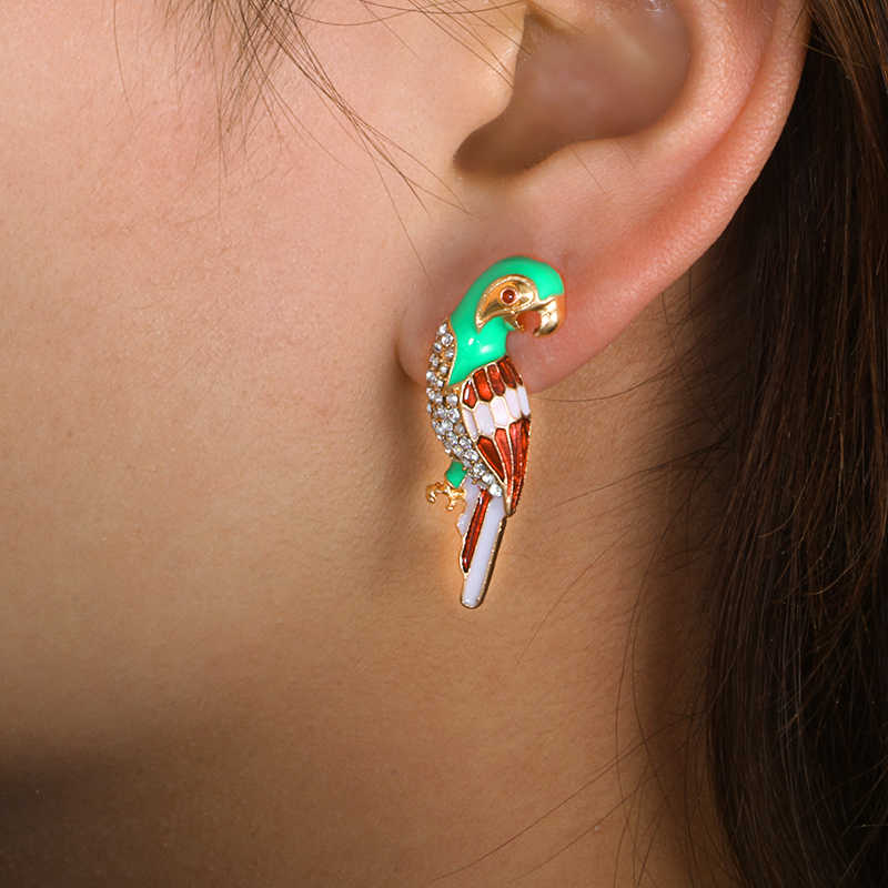 Tocona Cute Gold Animal Crystal Rhinestone Parrot Drop Earrings For Womem Fashion Party Earring Jewelry Girl Gift 3875