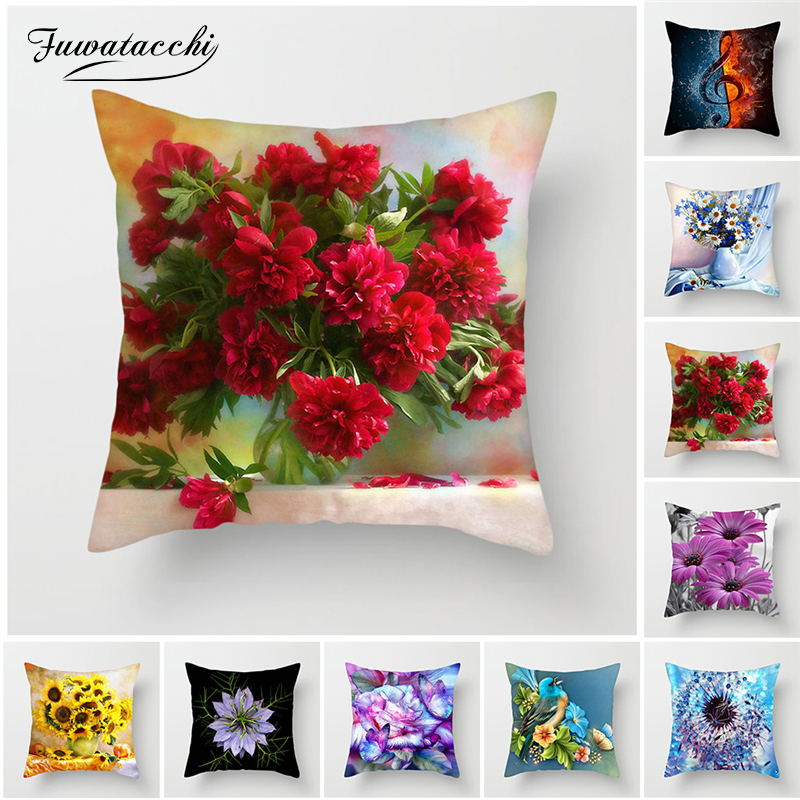 Fuwatacchi Colorful Flower Cushion Cover Sunflower Rose Dandelion Decorative Cover Pillows Decoration Pillowcase For Car Home