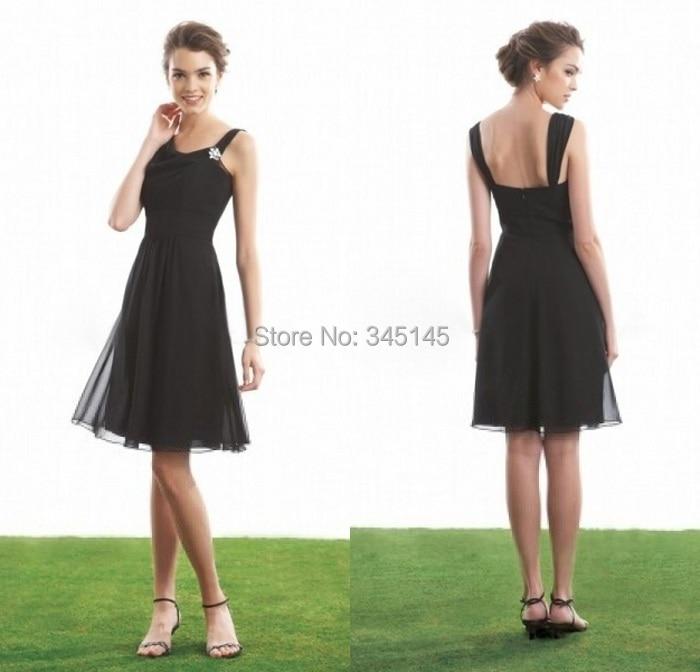 Formal Design A Line Knee Length Chiffon Black   Bridesmaid     Dresses   Spaghetti Straps Hot Selling Beach Garden   Bridesmaid     Dress