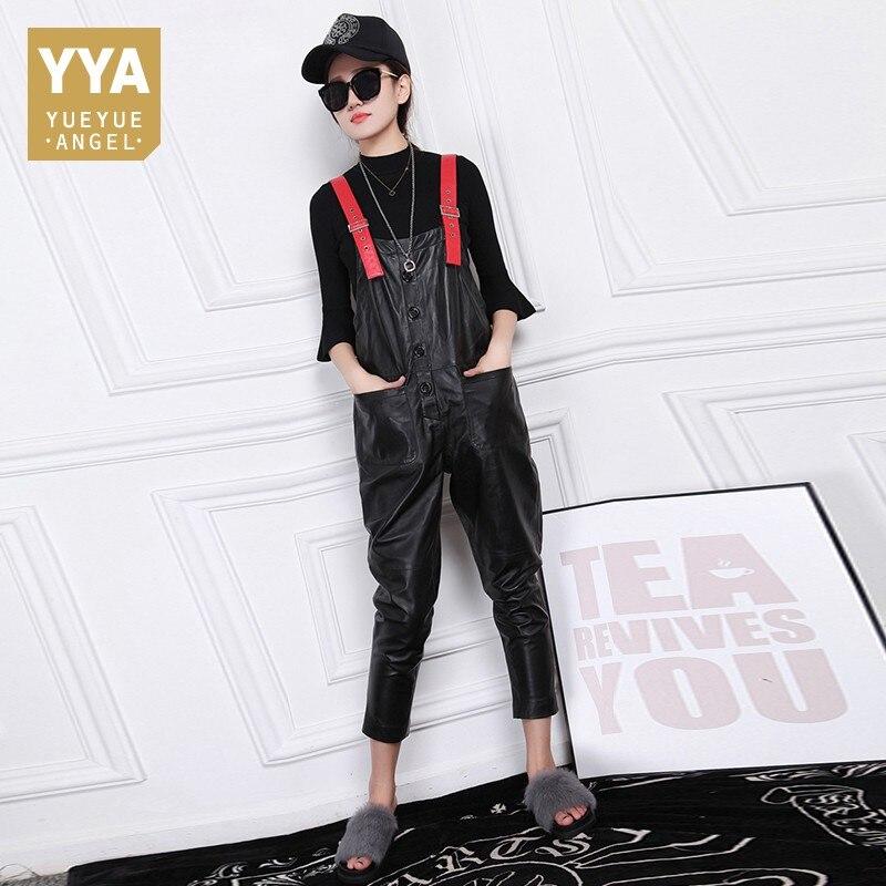 European Slim Fit Womens Jumpsuit High Quality Leather Suspender Pants Fashion Solid Sheepskin Jumpsuit Female Plus