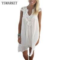 Summer Dress New Women Lace Patchwork Chiffon Dress Hollow Out Sleeveless Loose Beach Tunic Sexy Casual