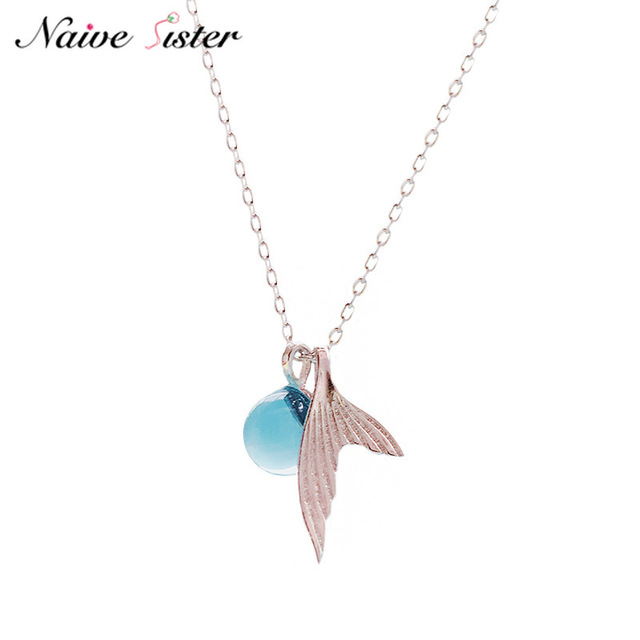 a0afc347f New Fashion Mermaid Tail Pendant Necklaces for Women Real 925 Sterling  Silver Blue Crystal Jewelry Girls Love Promise Gift 2019