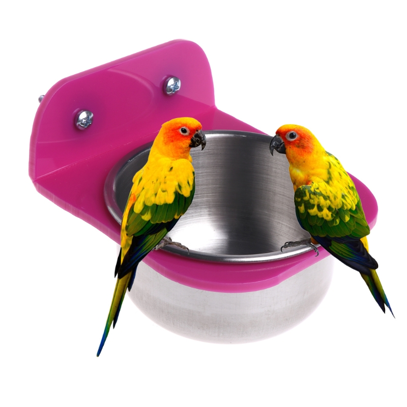Stainless Steel For Crates Cages Coop Dog Parrot Pet Food Water Bowl Bird Feeder