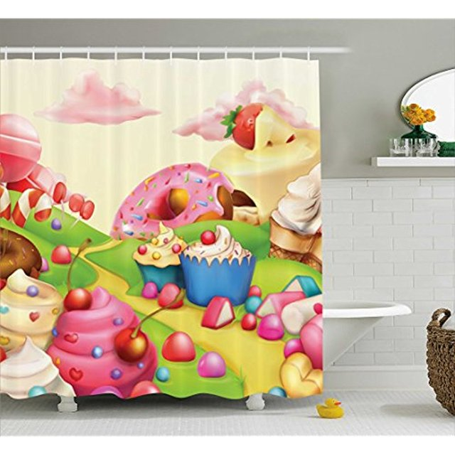 Vixm Modern Shower Curtain Yummy Donuts Sweet Land Cupcakes Ice Cream  Cotton Candy Clouds Kids Nursery