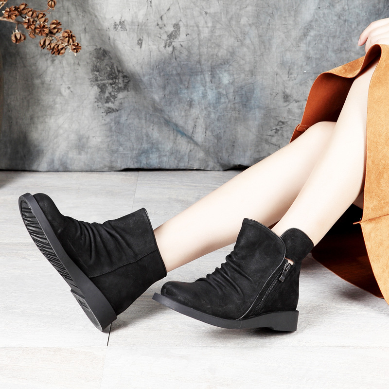 Black Pleated Boots Ankle Boots For Women Original Leather Latest Design Quality Female Booties Lady Footwear Shoes Plus Size 41 недорго, оригинальная цена
