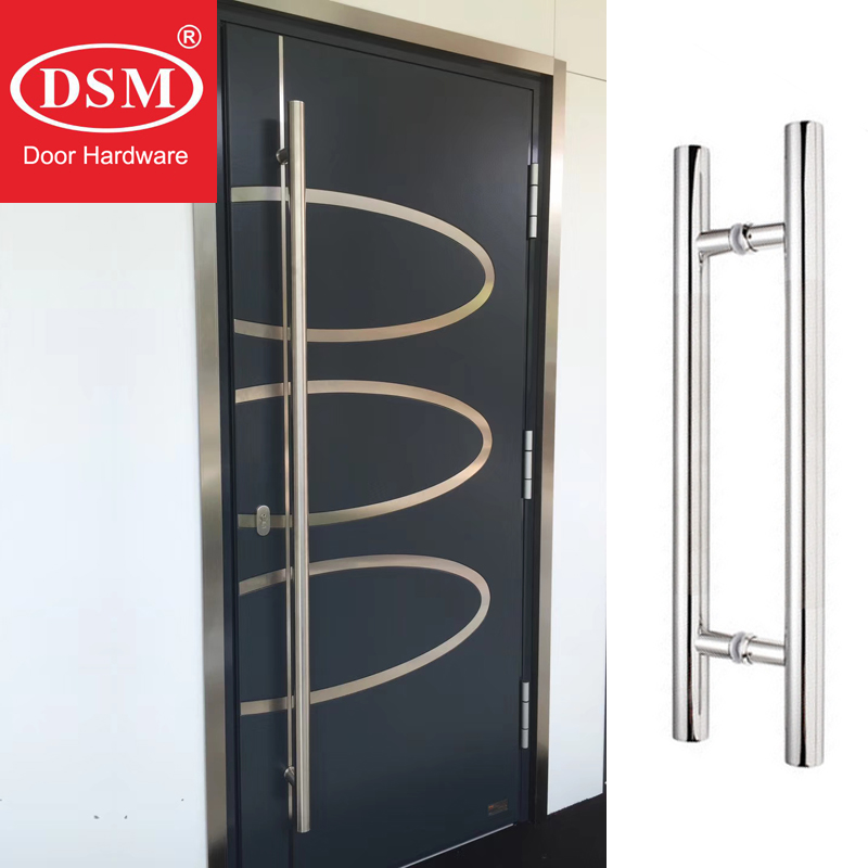 Modern Push Pull Brushed Stainless Steel Door Handle For Entrance/Entry/Shower/Glass/Shop/Store Gates PA 102 38 600mm 800mm H