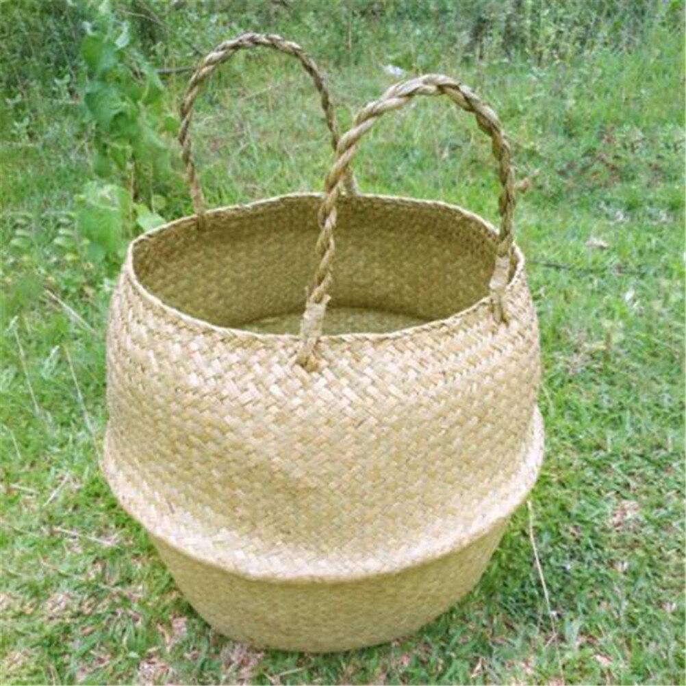 Folding Laundry Flower Pot Flower Vase Home Garden Hanging Basket Wedding Storage Basket Rattan Straw Basket Wicker Seagrasss