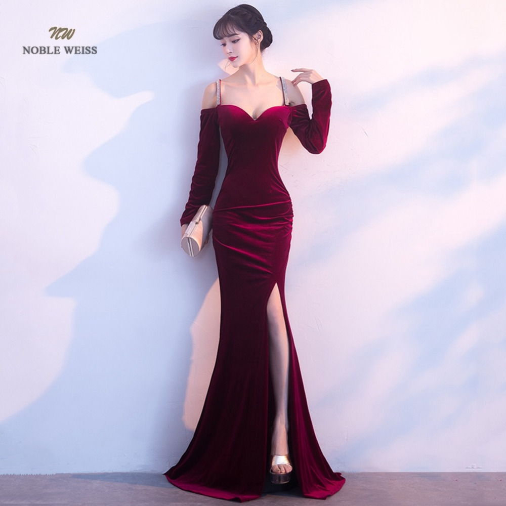 Sexy   Prom     Dress   Velour Boat Neck Bare Back Split Simple Long Party/  Prom     Dresses   With Long Sleeves