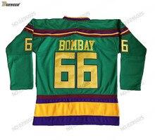 DUEWEER Mens Vintage Gordon Bombay Mighty Ducks Film Hockey Jerseys  Goedkope Green  66 Gordon Bombay afdda1d3d