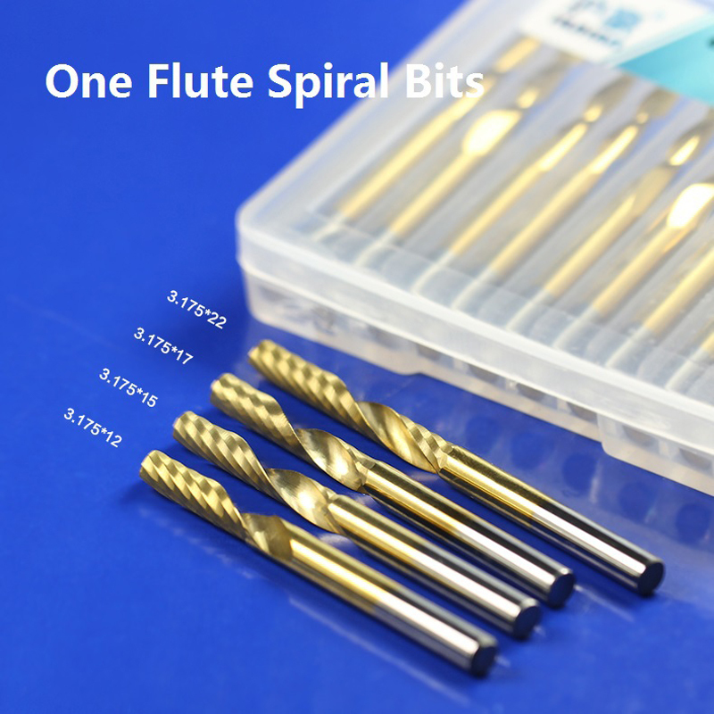 1pc 3.175 mm SHK Titanium Coating Spiral PVC Cutter One Flute Spiral End Mills Flute end Milling Cutter CNC 1 Router Bits 1pcs 12mm shk one flute end mill cutter spiral bit cnc router tool single flute acrylic carving frezer