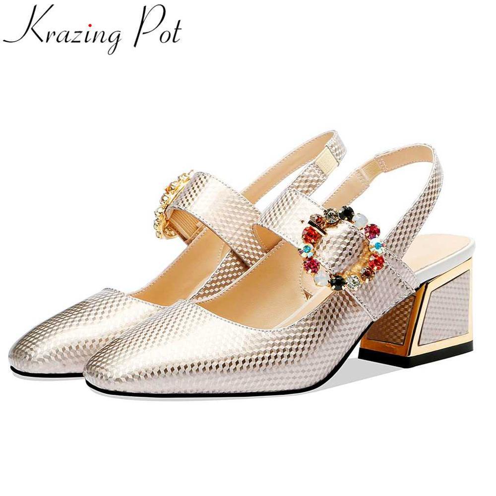 Krazing pot new patent leather colorful crystals buckle ssquare toe female slip on large size slingback high heels pumps L88Krazing pot new patent leather colorful crystals buckle ssquare toe female slip on large size slingback high heels pumps L88