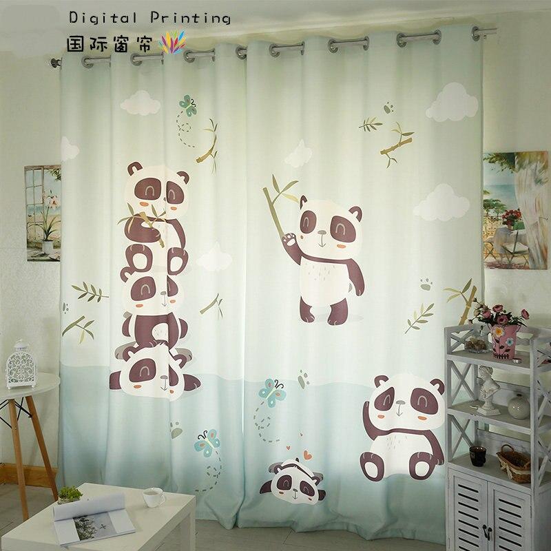 Персональный портной 2x люверсами окна драпировки Шторы Детские Дети Детская комната витрина Тюль 260x200 см панда бамбук