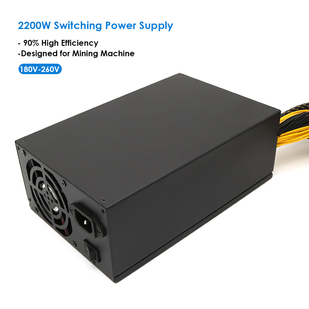 2200W 180-260V Switching Power Supply 90% High Efficiency for Ethereum S9 S7 L3 Rig Mining high-end graphics card motherboard PC 1800w switching power supply equipment 90 percent high efficiency power supply unit for ethereum s9 s7 l3 rig mining 180 260v
