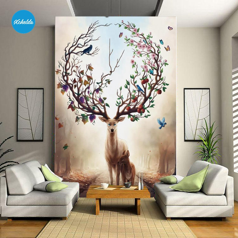 XCHELDA Custom 3D Wallpaper Design Fruit Tree Deer Photo Kitchen Bedroom Living Room Wall Murals Papel De Parede Para Quarto kalameng custom 3d wallpaper design street flower photo kitchen bedroom living room wall murals papel de parede para quarto