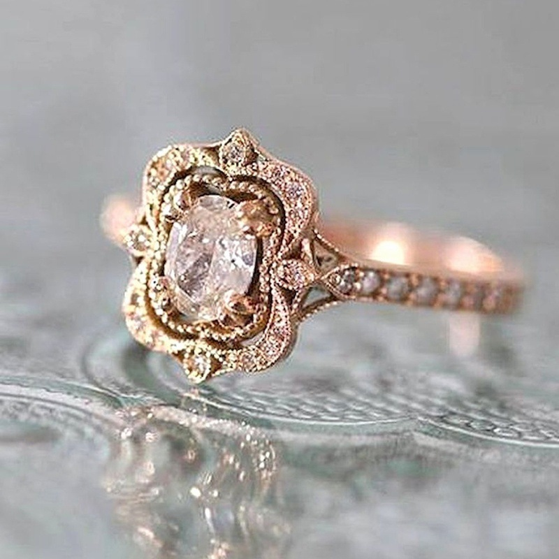 14K Rose Gold Color 1.5 Carat Diamond Wedding Rings For Women Bizuteria Anillos Gemstone Bague Jewelry For Females Ring Jewelry
