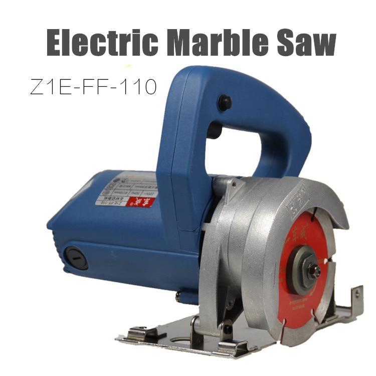 Sierra eléctrica 1200W Cortador de mármol Sierra de azulejo de 110 mm Sierra de mármol eléctrica Máquina de corte de piedra (cepillo de carbón libre)