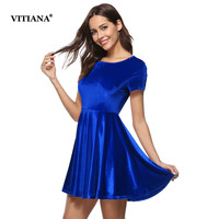 VITIANA Women Velvet Casual Dress Green Blue Autumn Spring Short Sleeve Female Elegant A Line Short