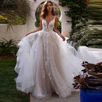 LORIE New Appliques Wedding Dress Tulle Bridal Gown Summer Bride Dresses V Neck Sleeveless Backless Long Train vestido de noiva