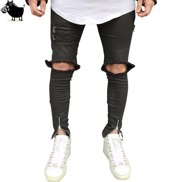 c557e607739f2 Destroyed Denim Jeans Hi-Street Mens Black Ripped Men Fashion Jeans Male  Distressed Skinny Jeans Ankle Zipper Design Trousers