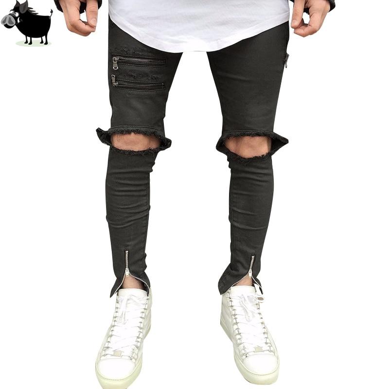 Destroyed Denim Jeans Hi-Street Mens Black Ripped Men Fashion Jeans Male Distressed Skinny Jeans Ankle Zipper Design Trousers